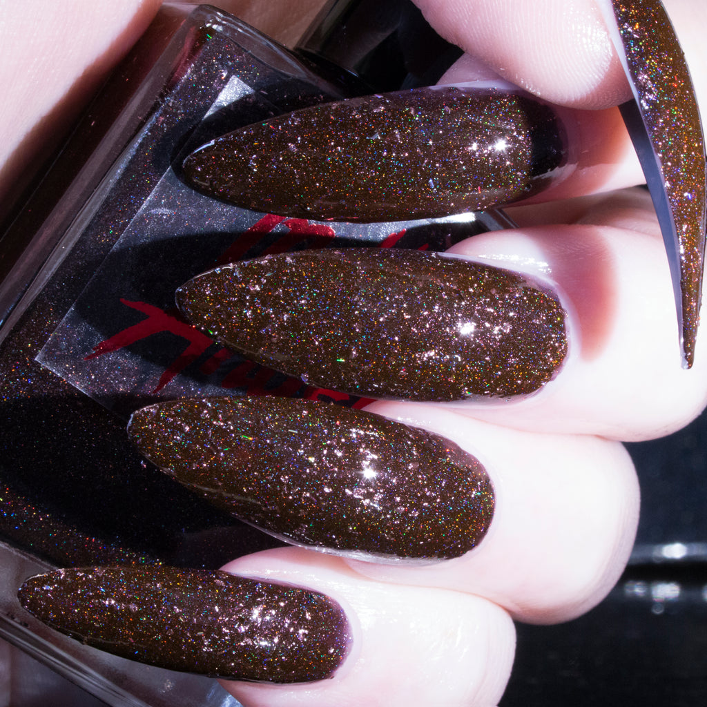 SpookyHo - cool toned deep brown w/ pink flakes textured superholo nail polish vegan