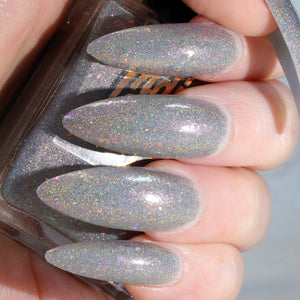 StarLight - silver w/ flakie holo glitter superholographic nail polish vegan