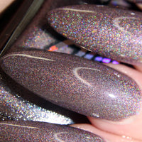 Stupid Cupid - dusty grey lilac super holographic nail polish vegan