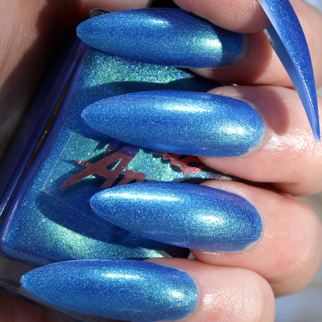 Surfs Up - bright blue glitter shimmer nail polish vegan