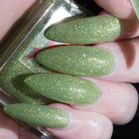 TrollBreath - lime glow in the dark matte glitter nail polish vegan