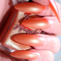 Twilight - bright orange shimmer nail polish vegan