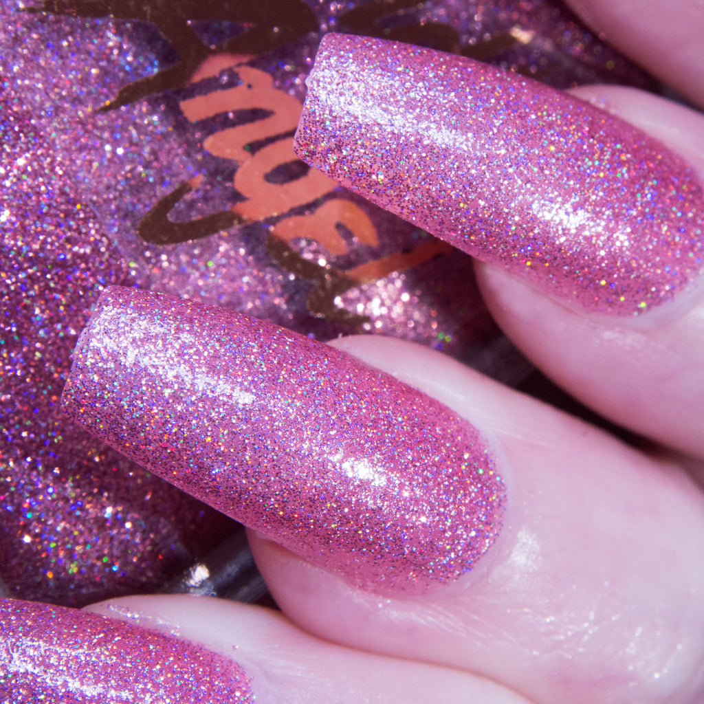 uWu - barbie pink glitter superholographic nail polish vegan