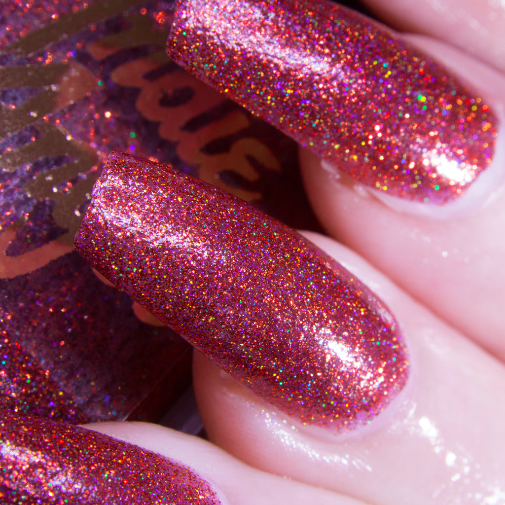 WAP - rosewood red glitter superholographic nail polish vegan