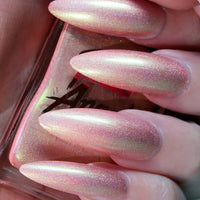 Weirdo - baby pink with a green shift holographic nail polish vegan