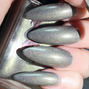Zero - silver with a green shine ultimate holo nail polish vegan