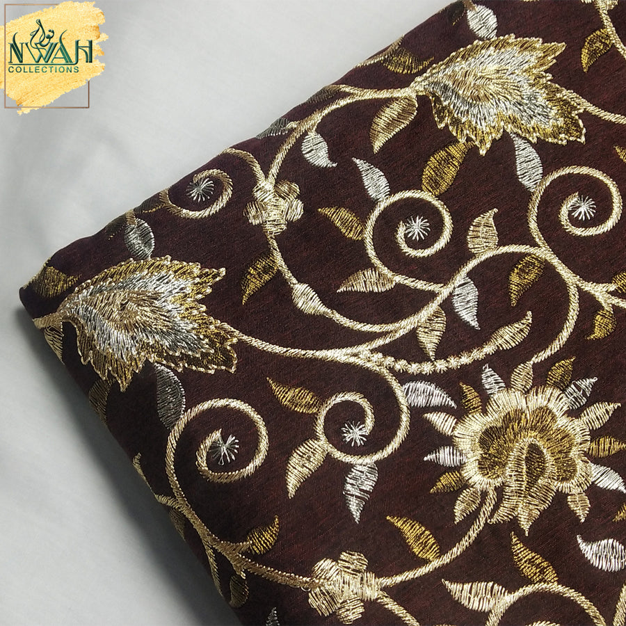 embroidered raw silk unstitch fabric for men