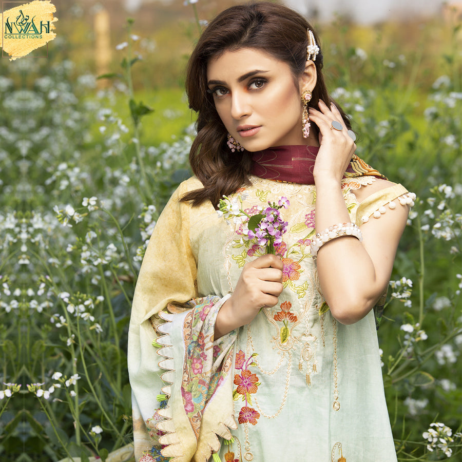 digital embroidered lawn with chiffon dupatta unstitch fabric for women