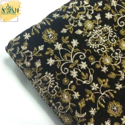 embroidered pure velvet unstitch fabric for men