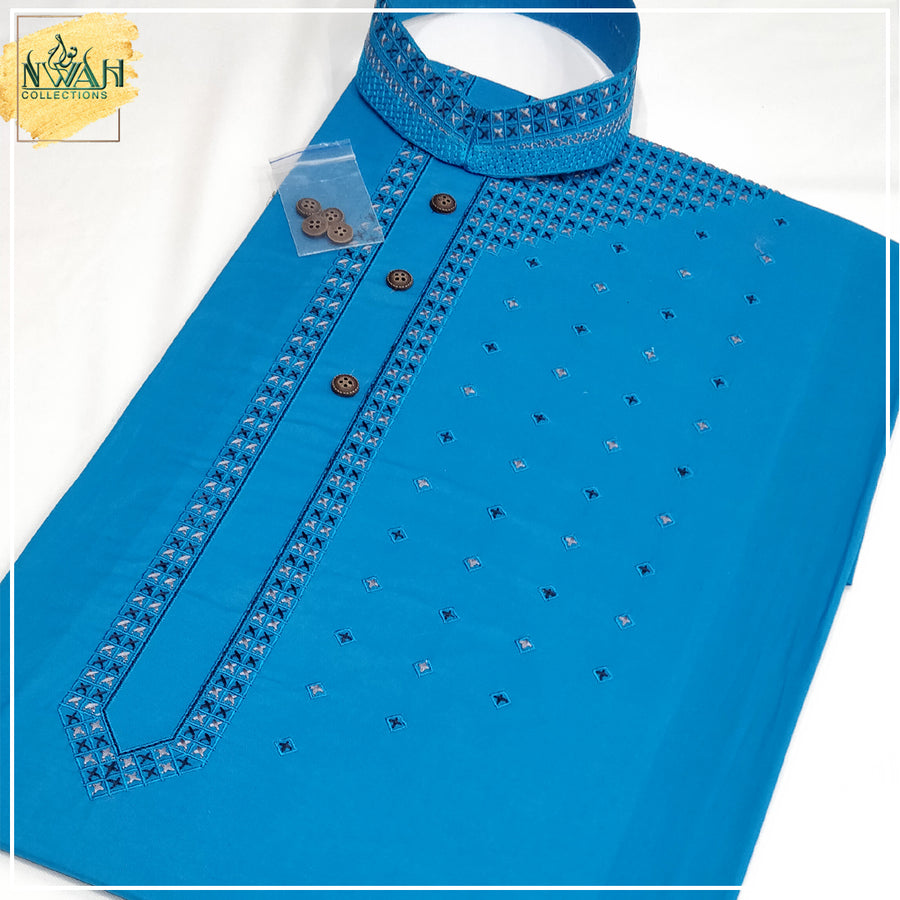 cotton embroided kurta unstitch fabric for men