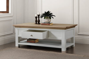 Versailles Coffee Table with Shelf and Drawer