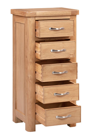 Chatsworth Oak Tall Chest with 5 Drawers
