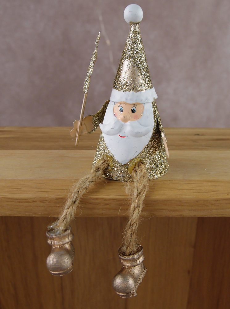 Load image into Gallery viewer, Gold Sitting Santa