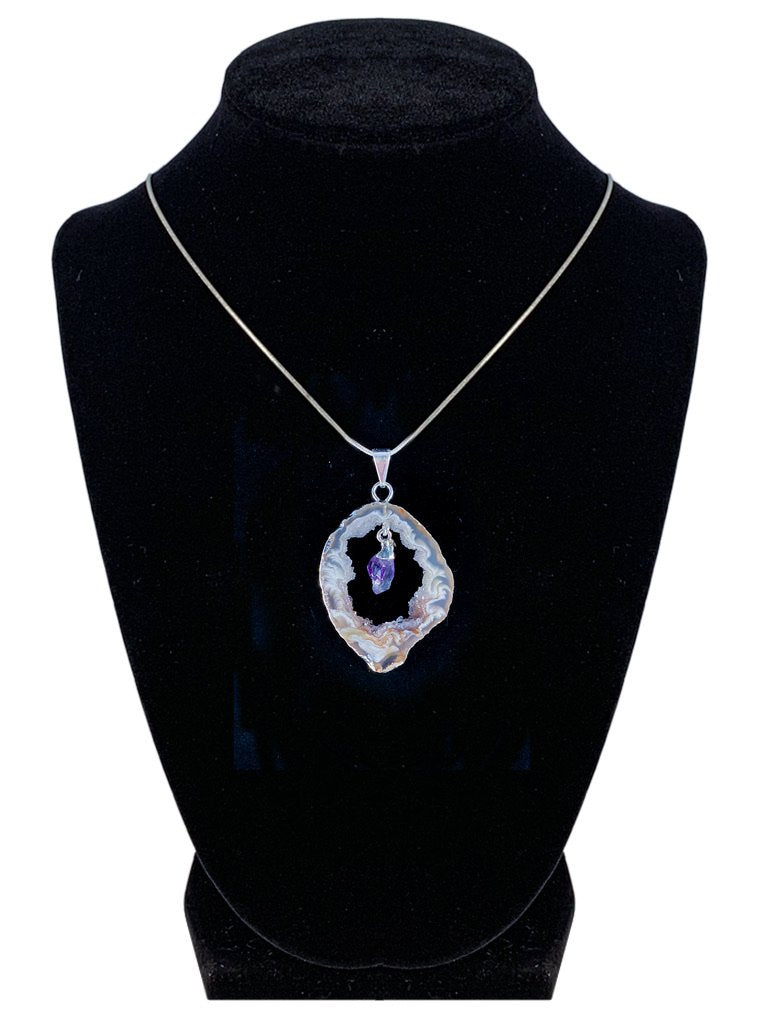 "Amethyst in Natural Agate ""All 7 Chakras Balancing"" Necklace Jewelry YE Journeys"
