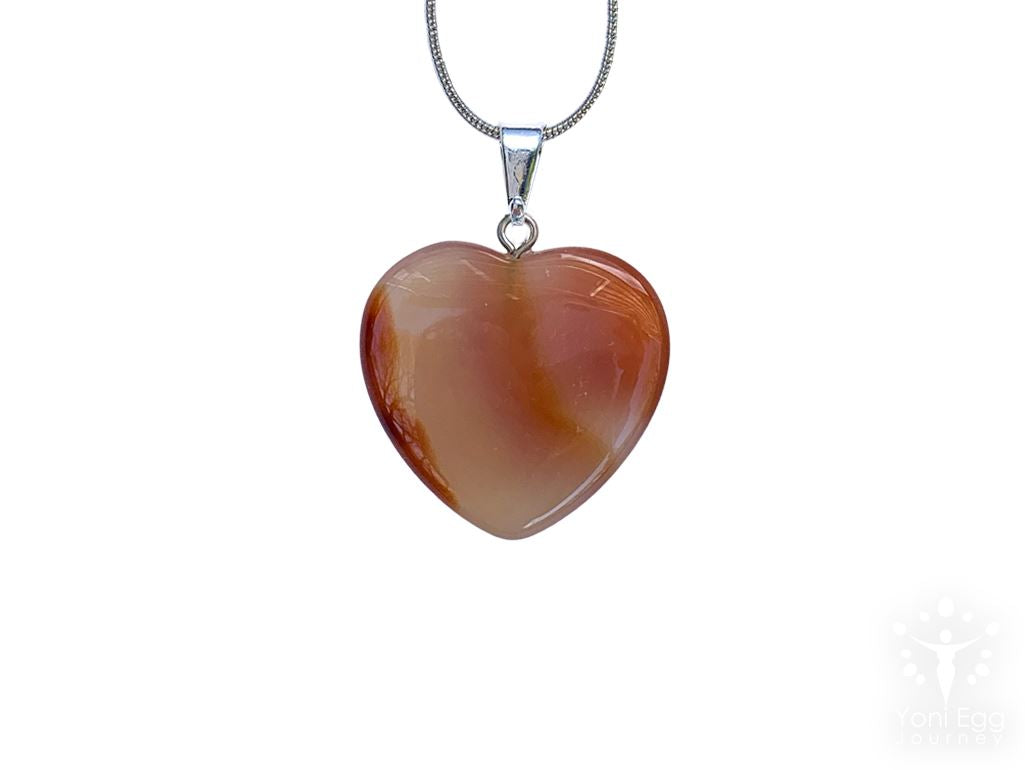 "Carnelian Heart Shaped Necklace ""Creation and Manifestation"" Jewelry YE Journeys"