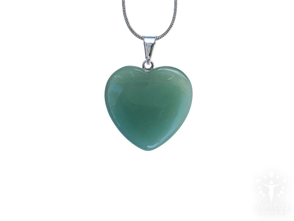 "Green Aventurine Heart Shaped Necklace ""Well Being and Adventure"" Jewelry YE Journeys"