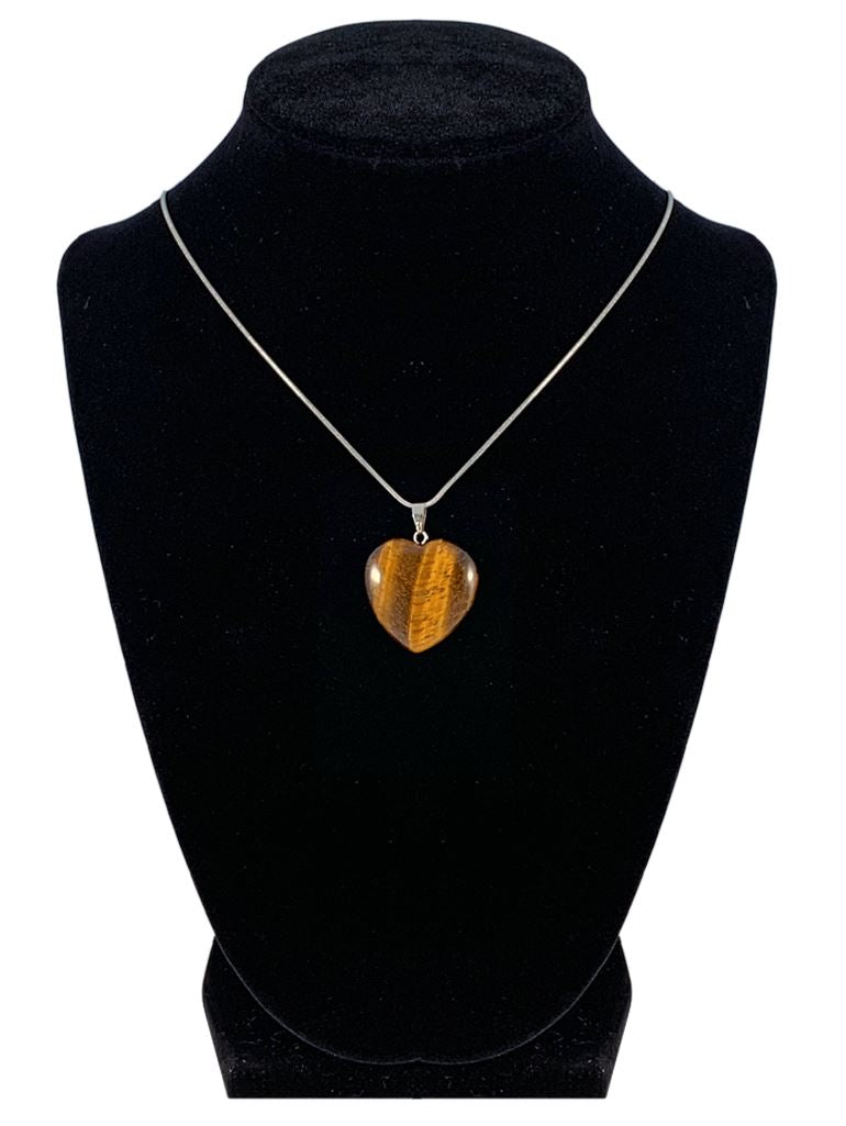 "Tiger Eye Heart Shaped Necklace ""Self Confidence and Power"" Jewelry YE Journeys"