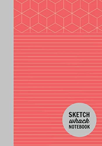 "Sketch Whack Notebook: Doodle While Taking Notes | Lined College Rule With Doodle Patterns | Red Soft Matte Cover | 7""x10"""