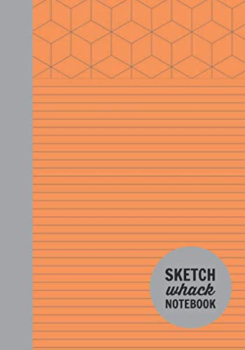 "Sketch Whack Notebook: Doodle While Taking Notes | Lined College Rule With Doodle Patterns | Orange Soft Matte Cover | 7""x10"""