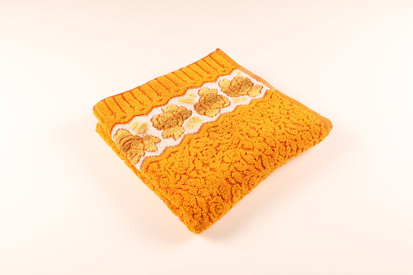 Textured Orange & Yellow Floral Towel