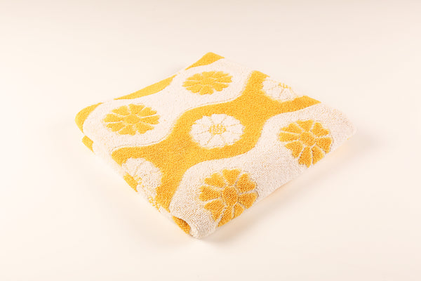 Yellow & White Curved Stripe Floral Towel