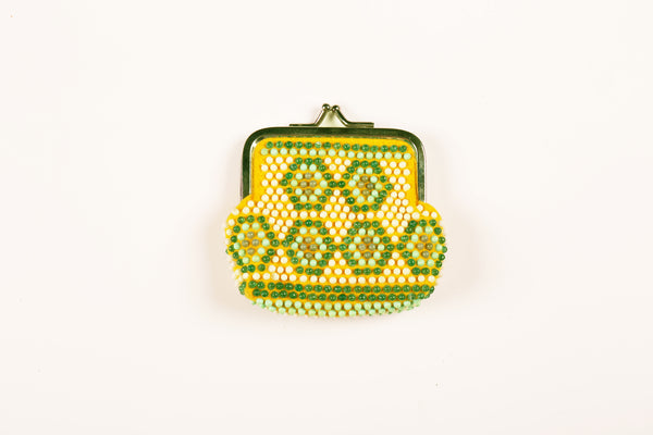 Yellow and Green Beaded Coin Purse