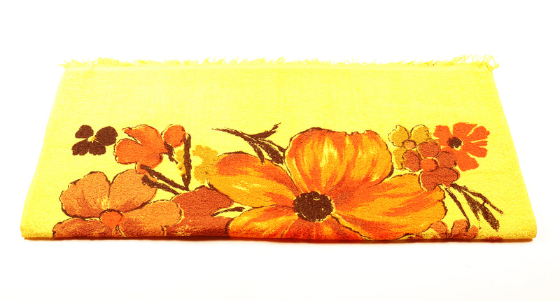 Fluorescent Yellow & Orange Floral Towel