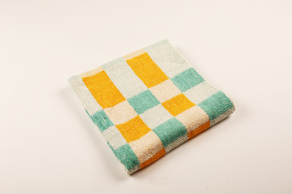 Turquoise & Yellow Check Towel