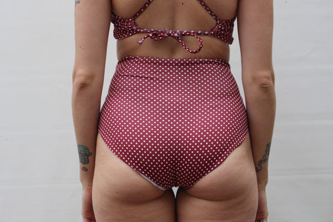 Abbie 'High' Bottom - Merlot Polka Dot