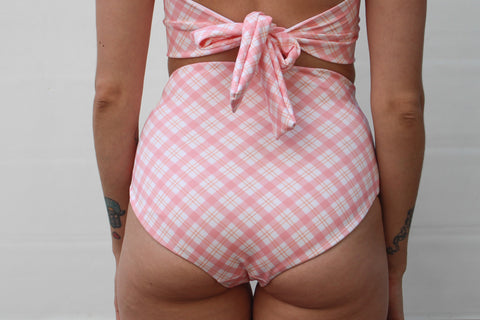Abbie 'High' Bottom - Pink Plaid
