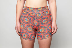 Bike Shorts - Red Floral Wallpaper