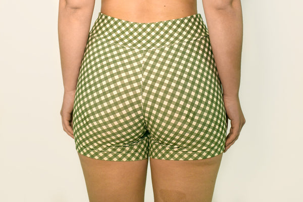 Bike Shorts - Olive Gingham