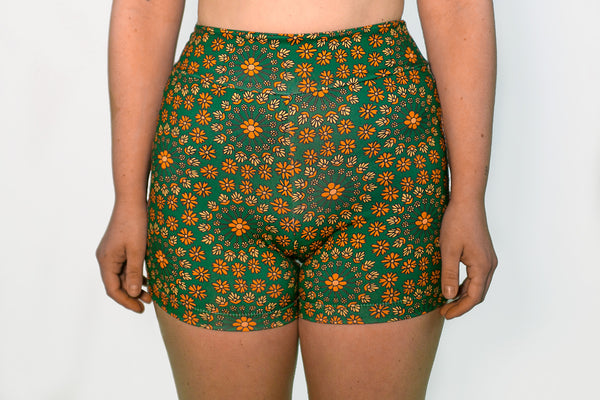 Bike Shorts - Forest Green Floral
