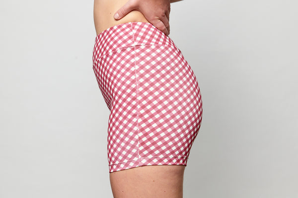 Bike Shorts - Merlot Gingham