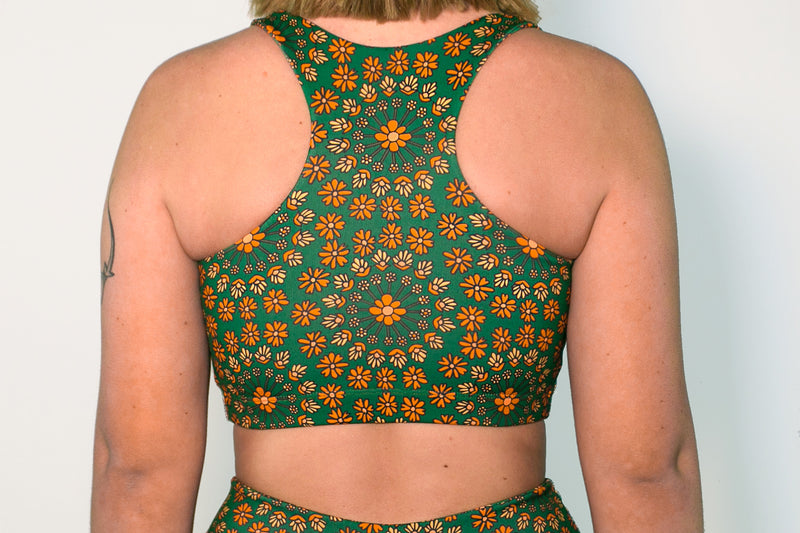 Crop Top - Forest Green Floral