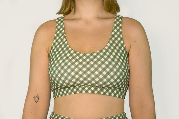 Crop Top - Olive Gingham