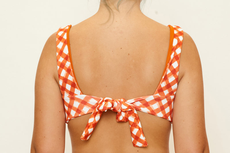 Lena Twist Top - Brushstroke Gingham