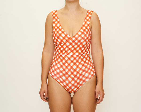Mia Full Piece - Brushstroke Gingham