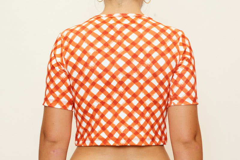 Cropped Rashie Top - Brushstroke Gingham