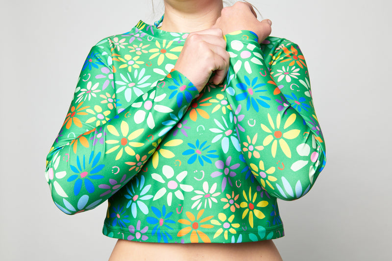 Long Sleeve Rashie Top - Green Garden
