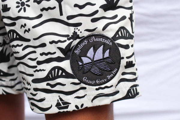 Black and White Sydneysider Classic Boardie