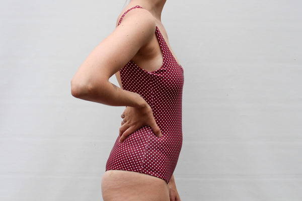 Ruby Full Piece - Merlot Polka Dot