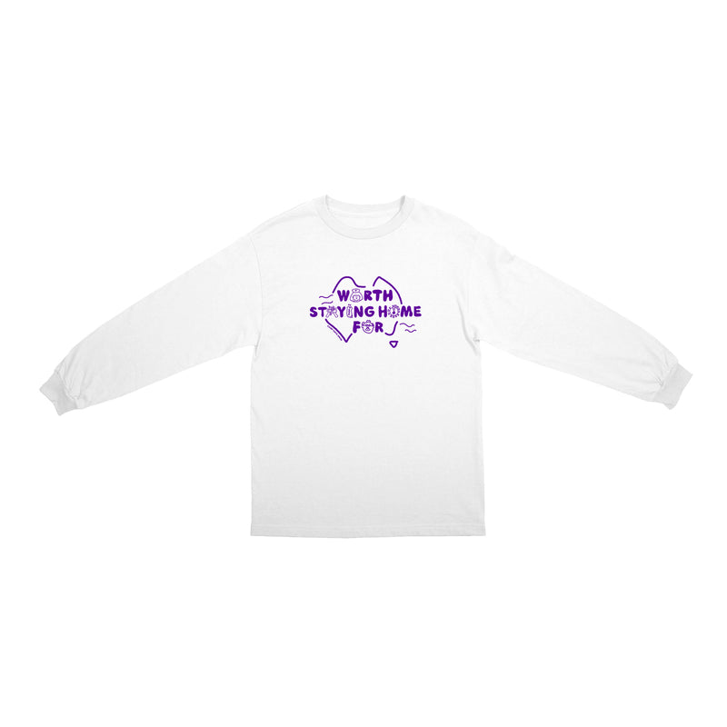 Worth Staying Home For Long Sleeve Tee - White