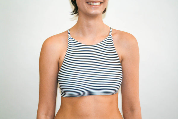 Ivy Cross Top - Black and Olive Stripe