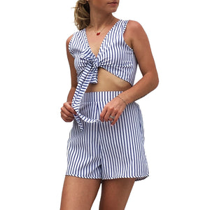 2 Piece Set Women 2019 Summer Vertical Stripes Sexy V-neck Tie T-shirt Shorts Suit Tracksuit Women Pants Women