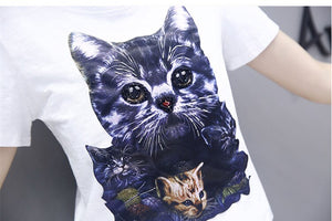2019 Summer 2 Pieces Jeans Suits Women Cat Print Cotton T Shirts Beading Tshirt+Calf-Length Hole Denim Pants Sets Tracksuit Set