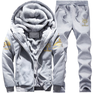 Casual Tracksuit Mens Set Winter Two Piece Sets All Cotton Inner Fleece Thick Hooded 2PC Jacket + Pants Sporting Suit Male