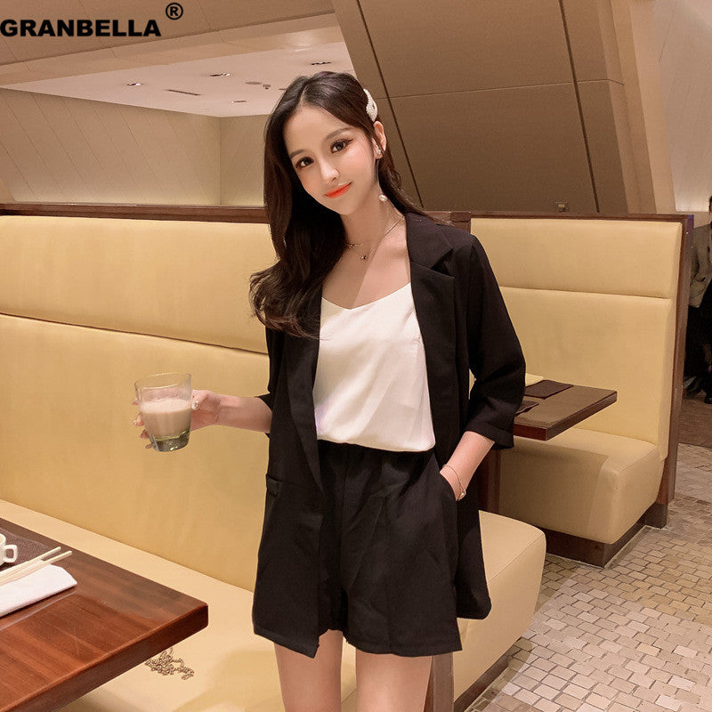 Office Lady Shorts Suit Set Women 2 Piece Set Jacket Blazer + High Waist Mini Pant Suits Tracksuit