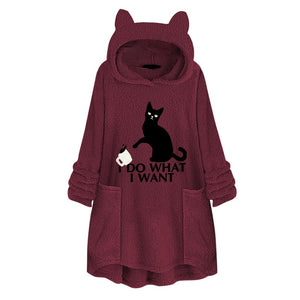 Fleece Hoodies Women 2019 Embroidery Cat Pullovers Long Sleeve Sweatshirts With Ear Tracksuit Tops Casual Autumn Sudadera Mujer