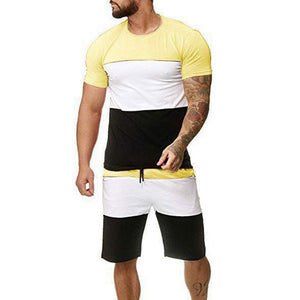 LOOZYKIT Sport Suit Men Summer Fitness Running Two-Piece Sets T-shirt Tops Short Pants Tight Jogging Homme Tracksuit Clothes